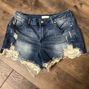 Altar'd State Jean Lace/Crotchet Shorts